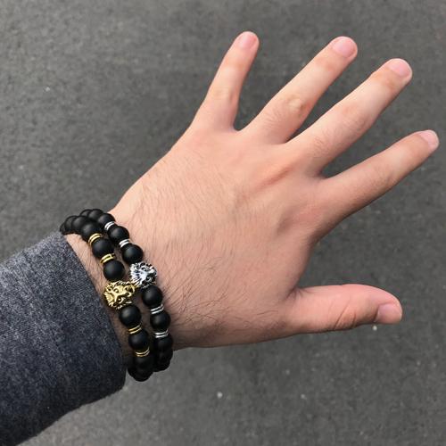 Lion Head Charm Bead Bracelet