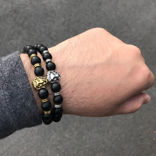 Lion Stretch Onyx Bracelet