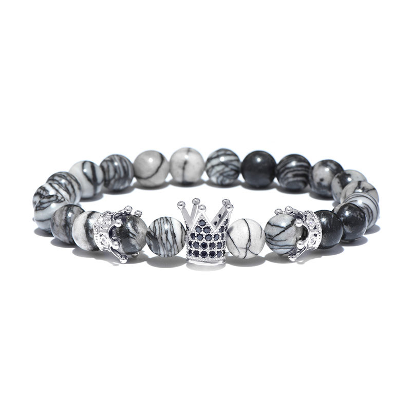 Larvikite Beaded Crown Bracelet CZ Stretch Charm