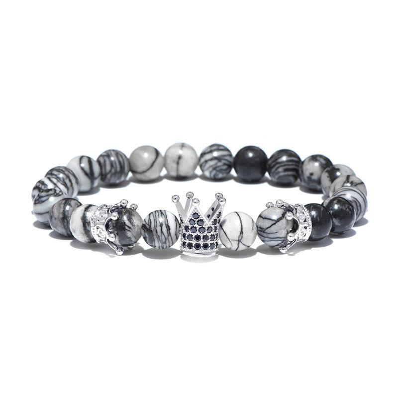 Larvikite Beaded Crown Bracelet CZ Stretch Charm