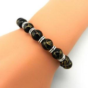 Mens Onyx Beaded Copper Charm Stretch Bracelet