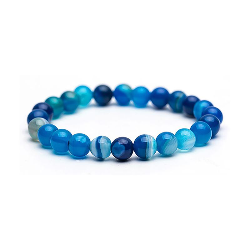 Blue Lace Agate Bracelet Beaded Stretch 8mm