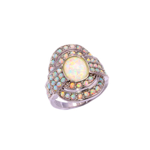 Cocktail Ring 925 Sterling Silver Fire Opal