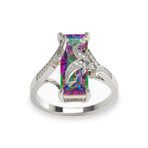 Leaves Ring Mystic Fire Topaz 925 Sterling Silver CZ