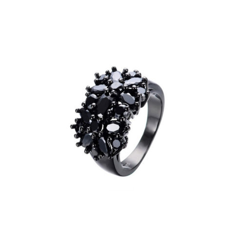 Black Gold Filled Ring S925 Cubic Zirconia Vintage