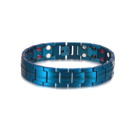 Blue Stainless Steel Healing Germanium Infrared Negative Ion Magnetic Bracelet