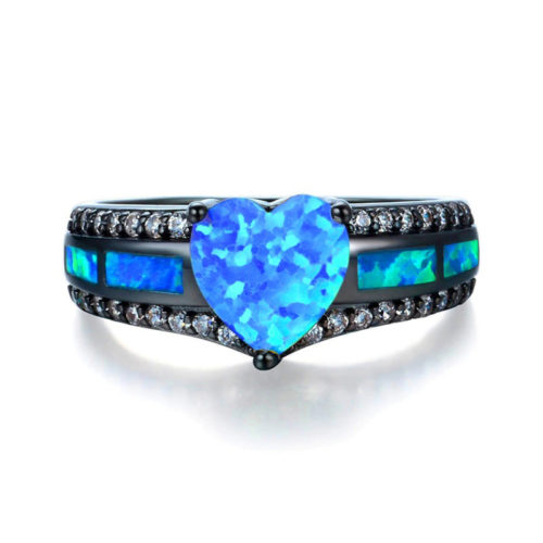 Opal Heart Ring Black Gold Filled S925 CZ