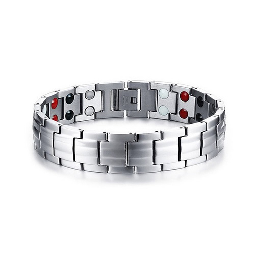 Silver Stainless Steel Healing Germanium Infrared Negative Ion Magnetic Bracelet