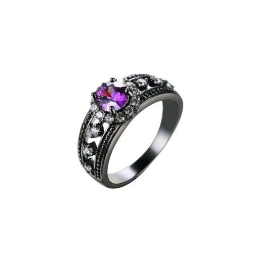 Solitaire Retro Ring Black Gold Filled Cubic Zirconia