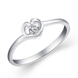 Cubic Zirconia Heart Ring