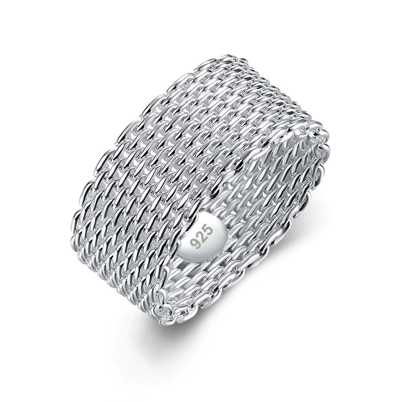 Mesh Ring 925 Sterling Silver Plated Zinc Alloy