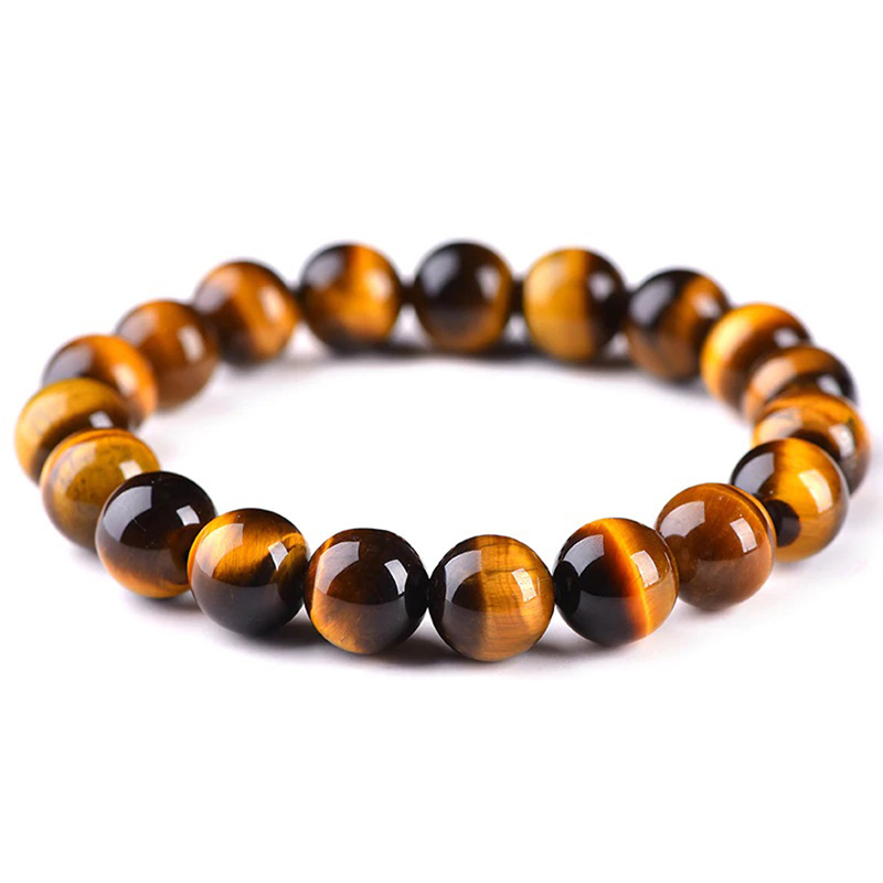 Tiger Eye Stretch Bracelet Brown Custom Size Beads