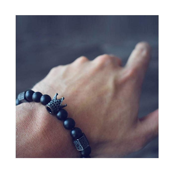 crown-beaded-bracelet-black-cz-matte-onyx