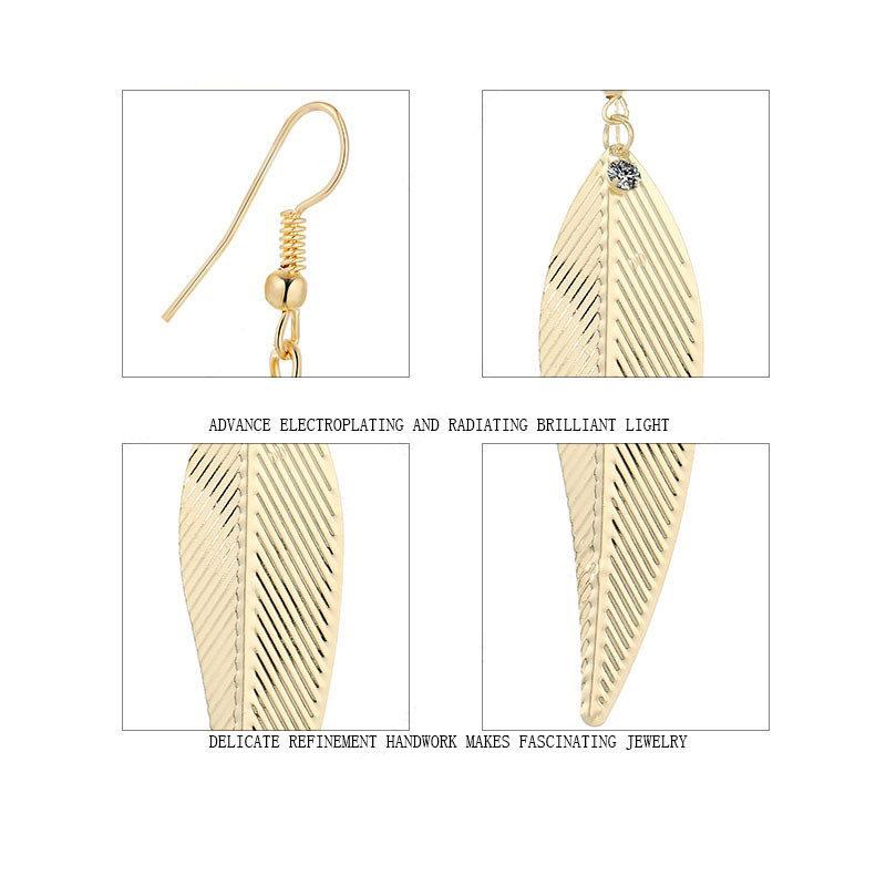 Weeping Willow Leaves Earrings Cz