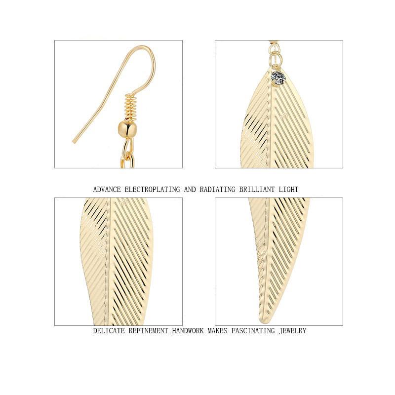 Weeping Willow Leaves Earrings Cz Stainless Steel