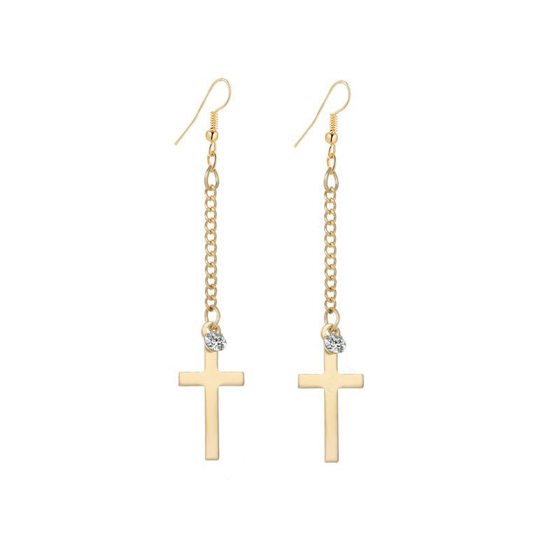Cross Dangle Earrings Cubic Zirconia Stainless Steel