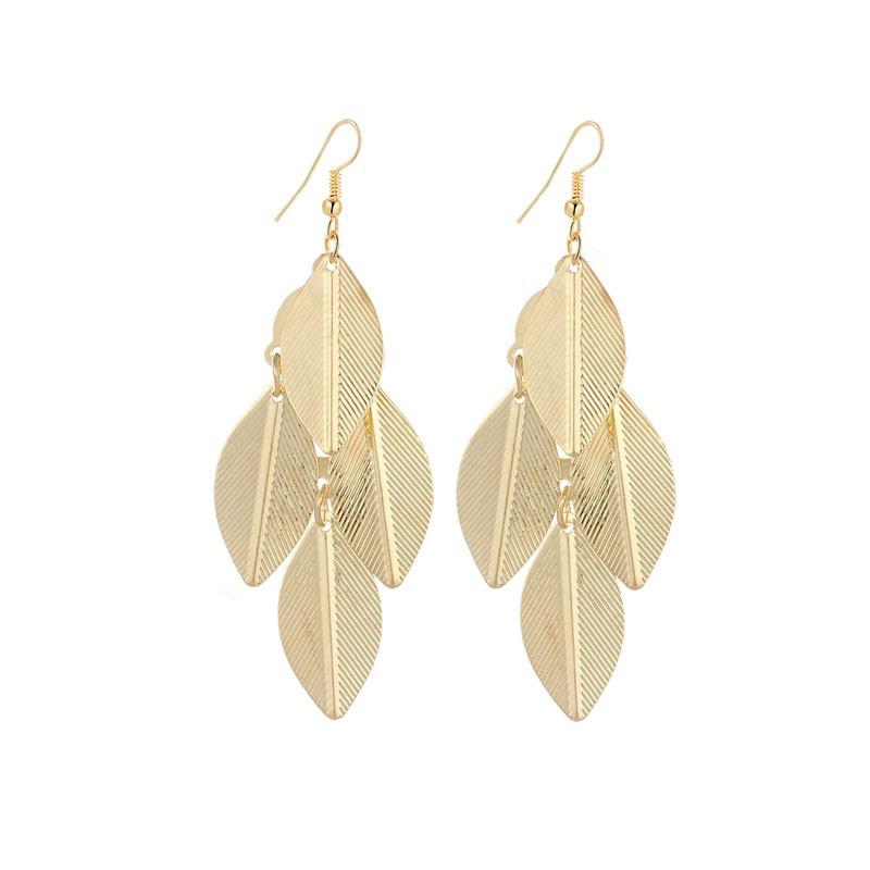 Leaves Earrings Dangle Stainless Steel