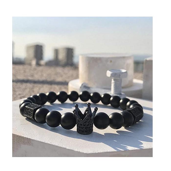onyx beaded alloy crown charm stretch bracelet