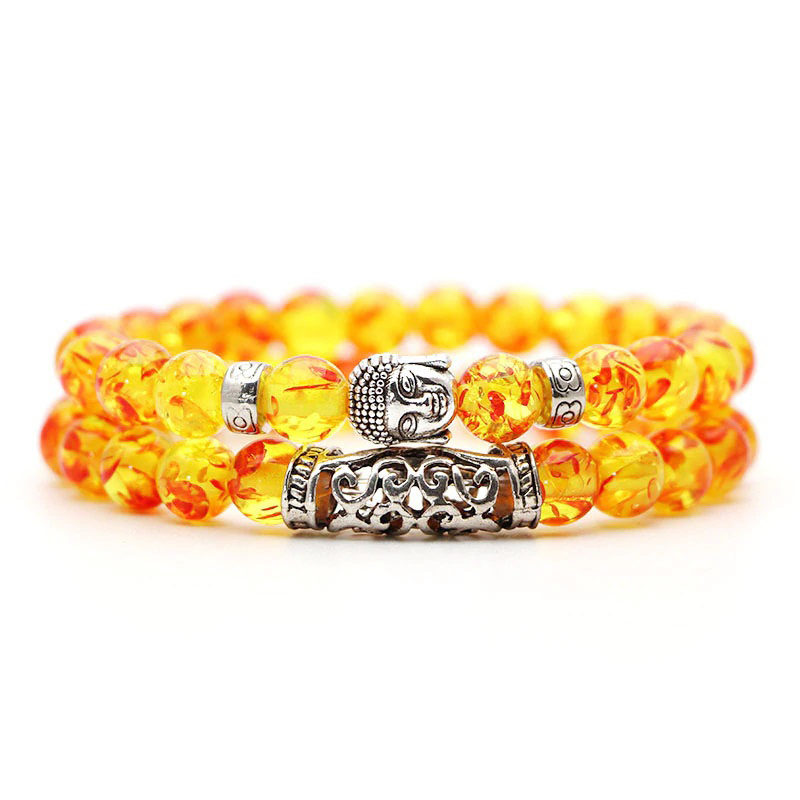 Meditation Bracelet 2pcs Set Buddha Charm Stretch