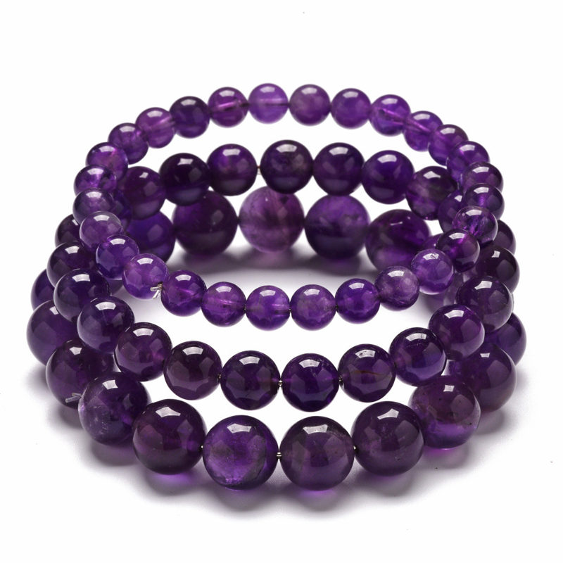 Amethyst Bracelet Beaded Handmade Custom Size Stretch