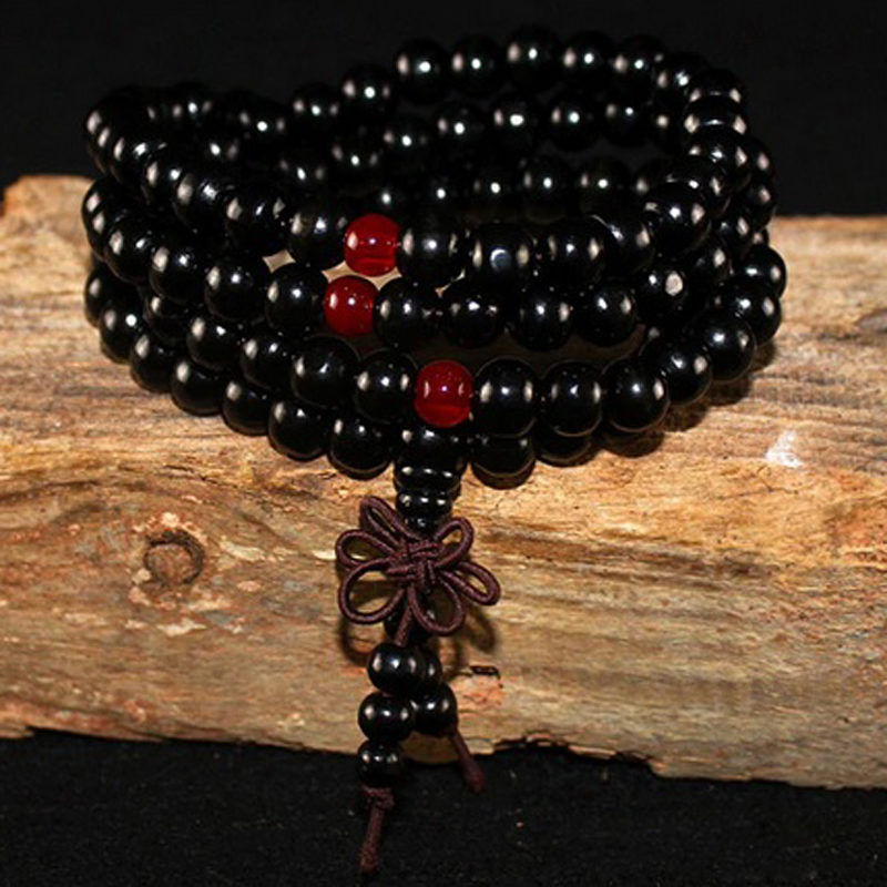 black-sandalwood-wrap-bracelet-garnet-buddhist-knot-beaded