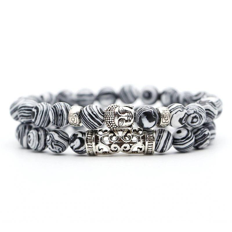 black-white-malachite-bracelet-2pcs-set-buddha-charm-stretch