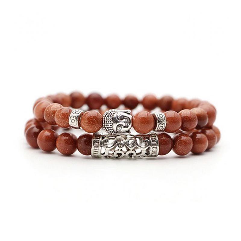 brown-gold-sandstone-bracelet-2pcs-set-buddha-charm-stretch