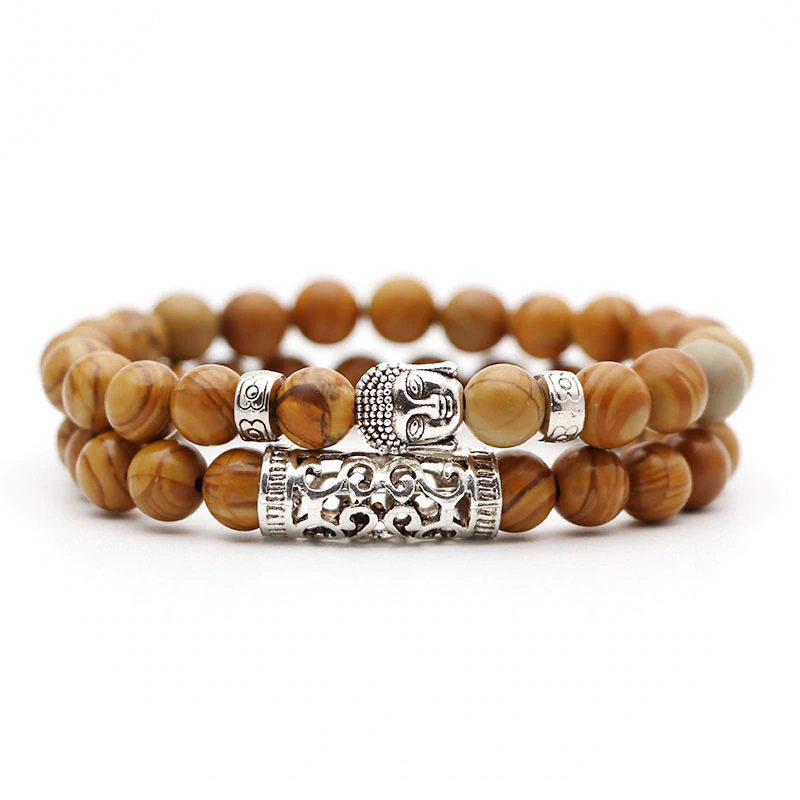 burly-wood-bracelet-2pcs-set-buddha-charm-stretch