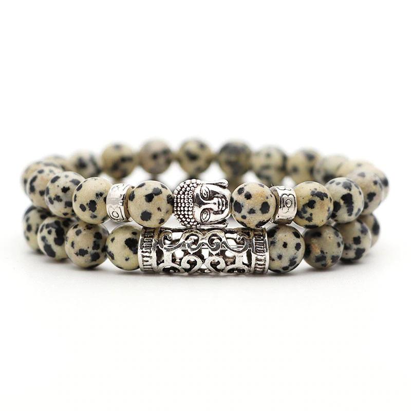 dalmatian-stone-bracelet-2pcs-set-buddha-charm-stretch
