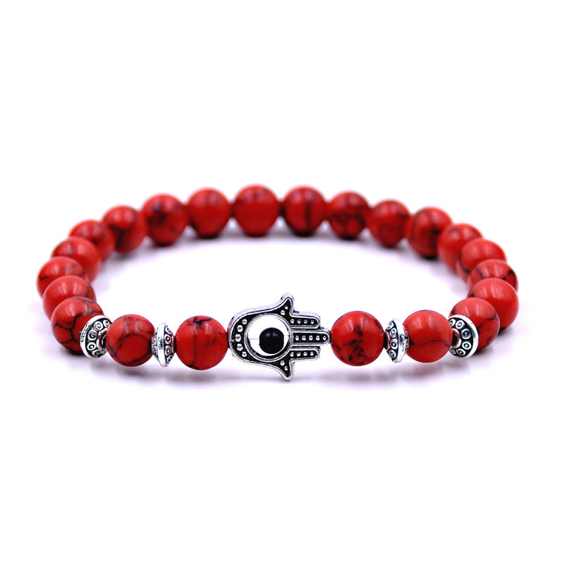 Red Turquoise Bracelet Charm Stretch Beaded