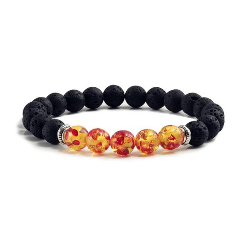 Chakra Bracelet Volcanic Bead Charm Stretch