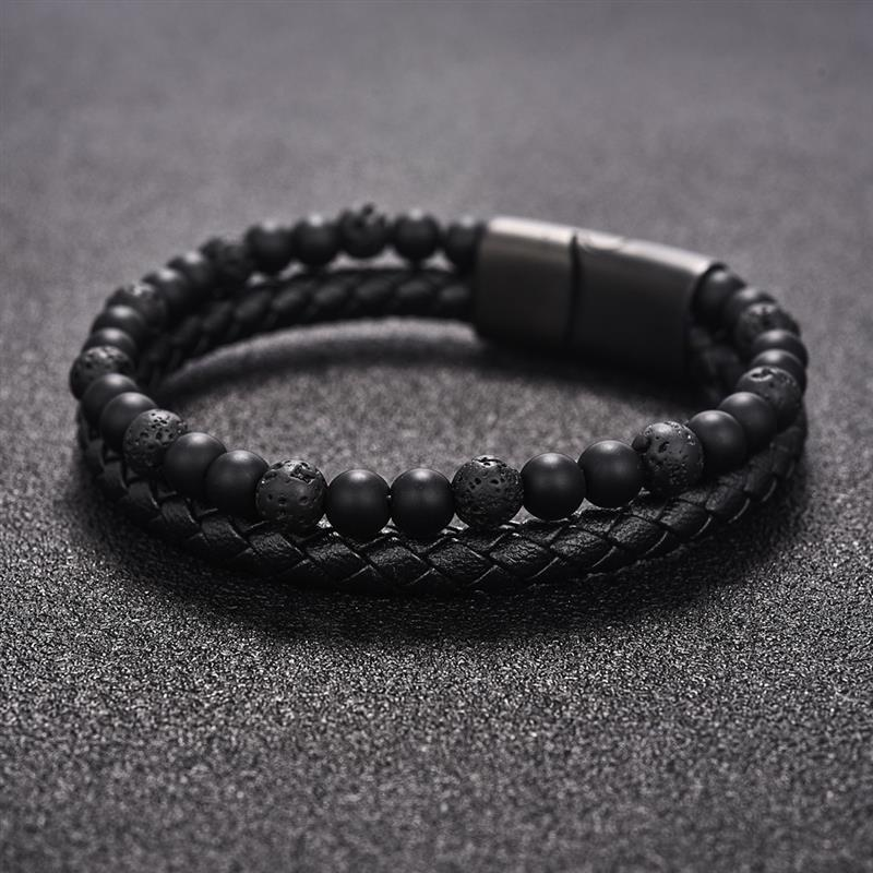 lava-onyx-leather-magnetic-clasp-bracelet-beaded-layered