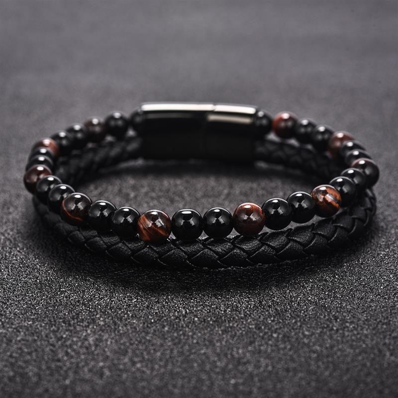layered-magnetic-clasp-leather-bracelet-beaded-onyx-tiger-eye