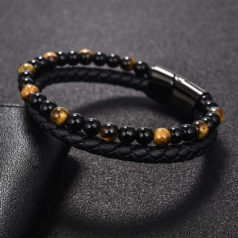 layered-magnetic-clasp-leather-bracelet-beaded-tiger-eye
