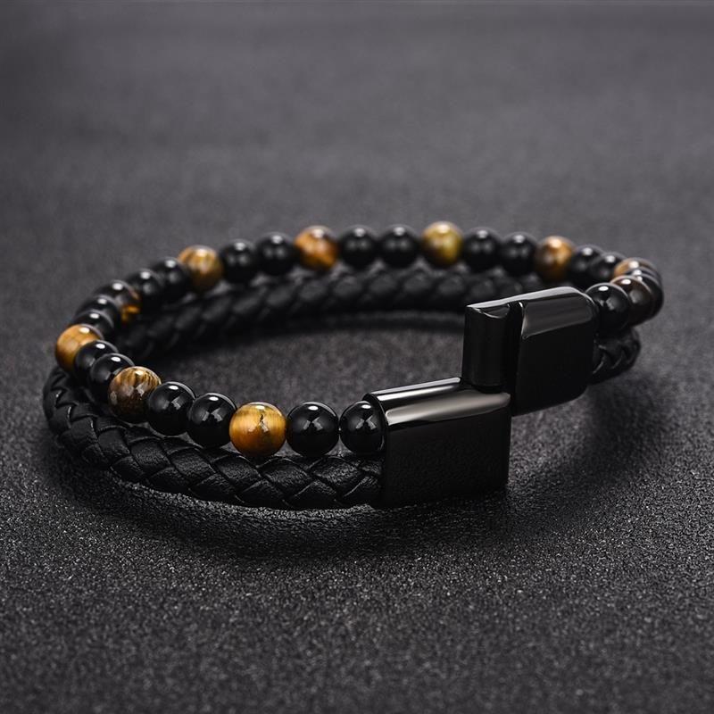 layered-magnetic-clasp-leather-bracelet-beaded-tiger-eye-stone