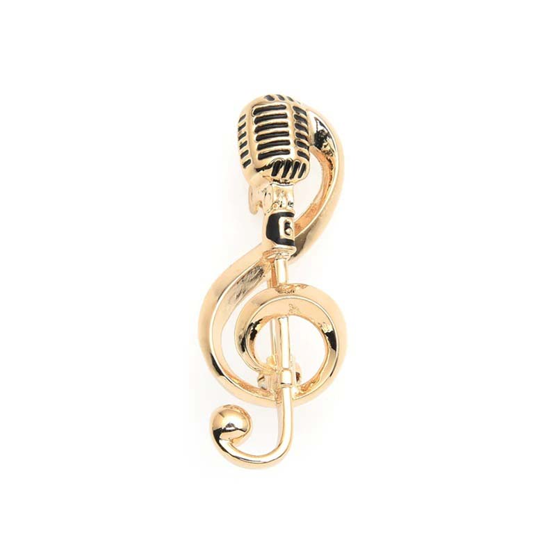 Microphone Treble Clef Brooch Retro Silver Gold