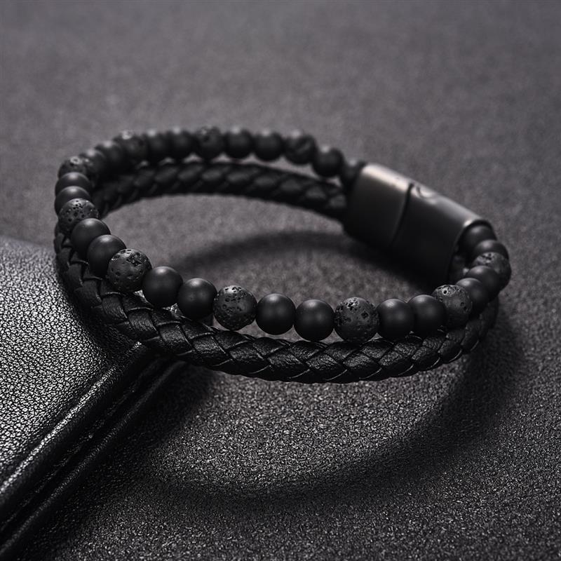 onyx-lava-leather-magnetic-clasp-bracelet-beaded-layered