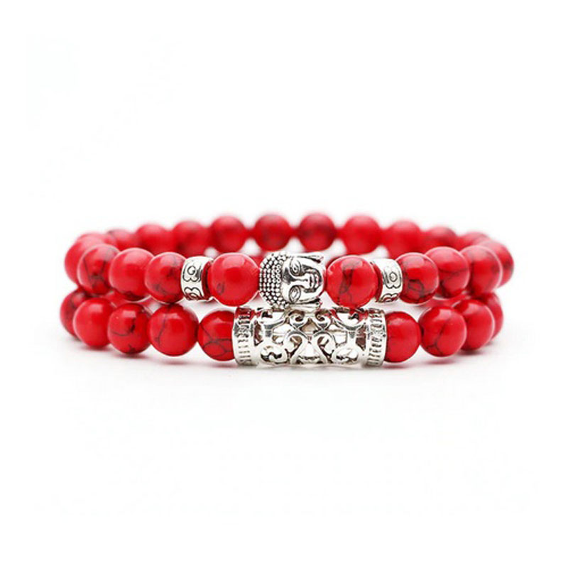 red-turquoise-bracelet-2pcs-set-buddha-charm-stretch