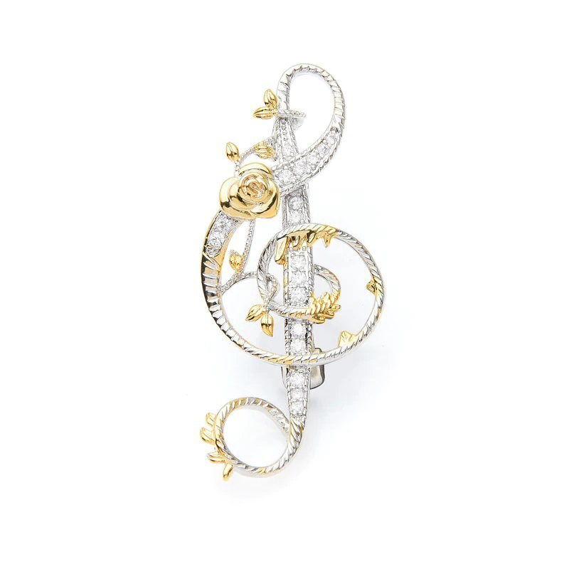 Rose Treble Clef Brooch Copper Gold Platinum Plated