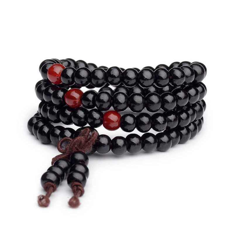 Sandalwood Wrap Bracelet Garnet Buddhist Knot Beaded