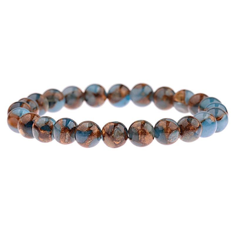 Blue Brown Agate Bracelet Stretch Gemstone Beaded