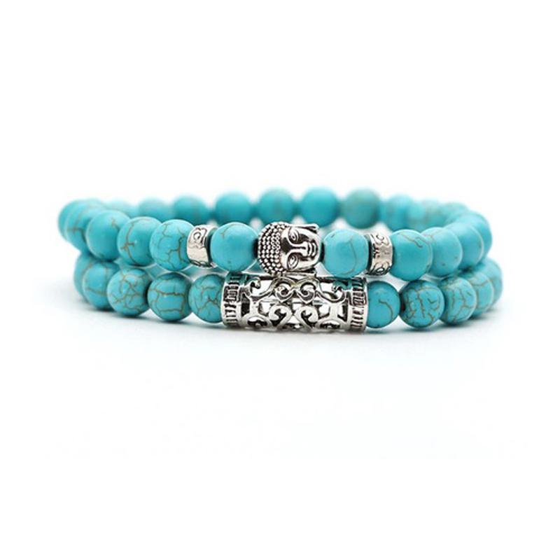turquoise-bracelet-2pcs-set-buddha-charm-stretch