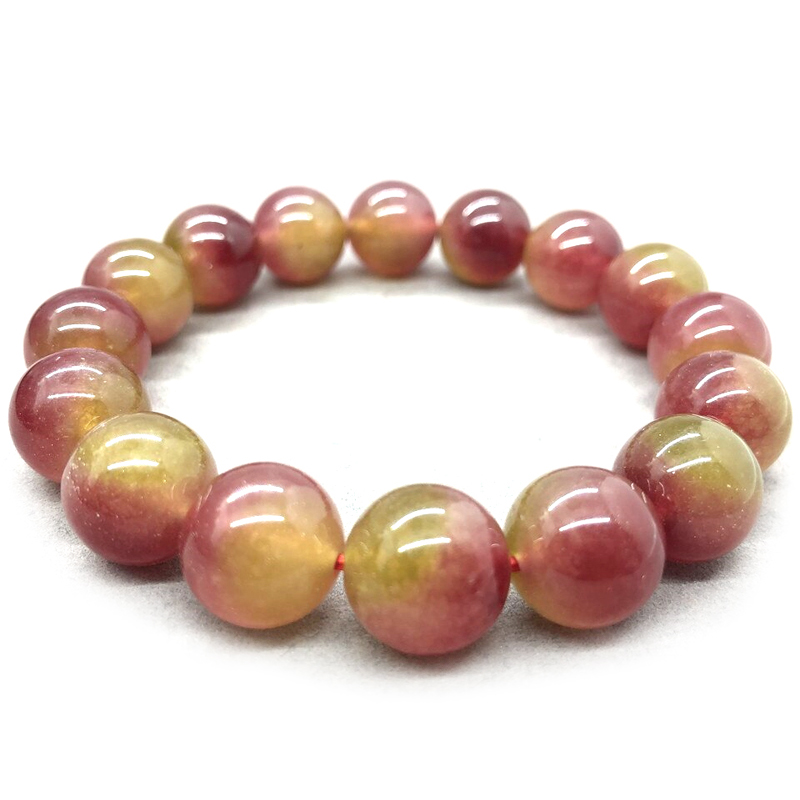 Watermelon Tourmaline Bracelet Beaded Stretch