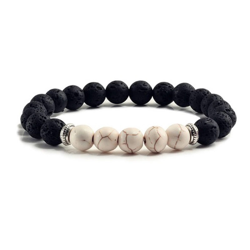 white-turquoise-chakra-bracelet-volcanic-bead-charm-stretch