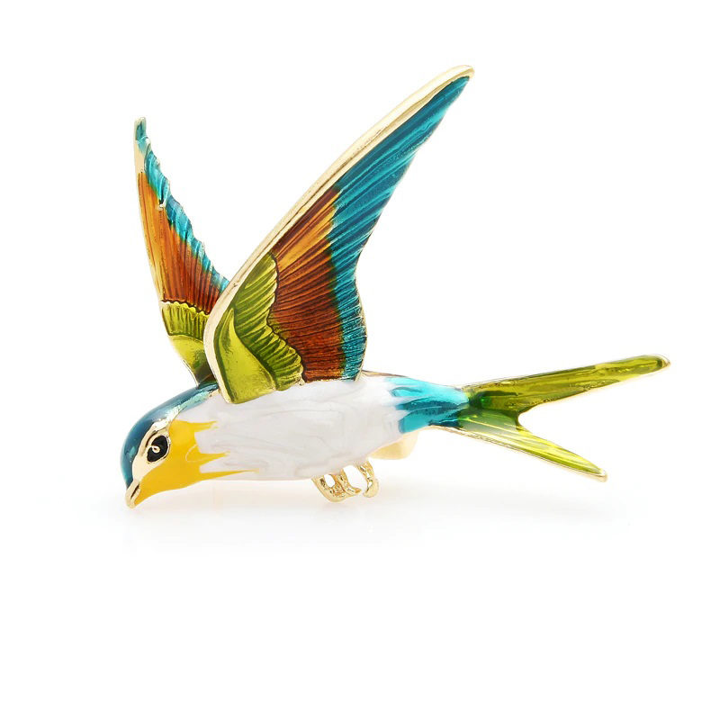 a-enamel-zinc-alloy-swallow-brooch