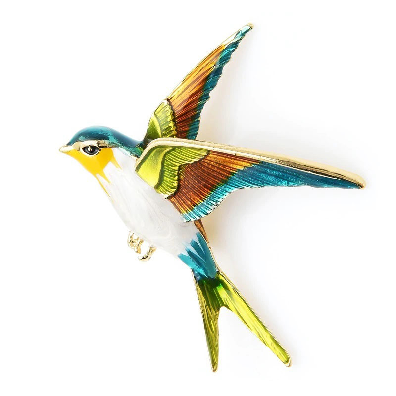 Swallow Brooch Enamel Zinc Alloy