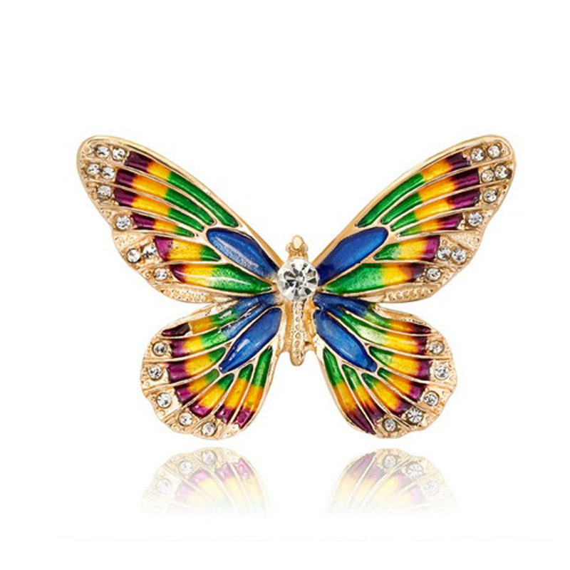 Butterfly Cubic Zirconia Brooch Multi-Color Enamel
