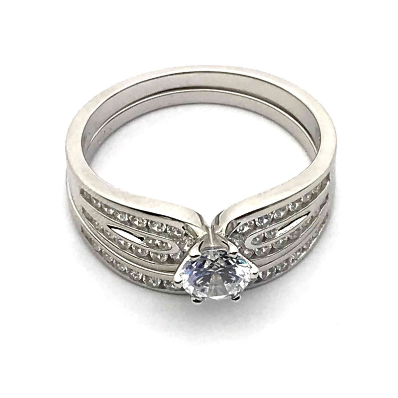 Engagement Set CZ Ring 925 Sterling Silver
