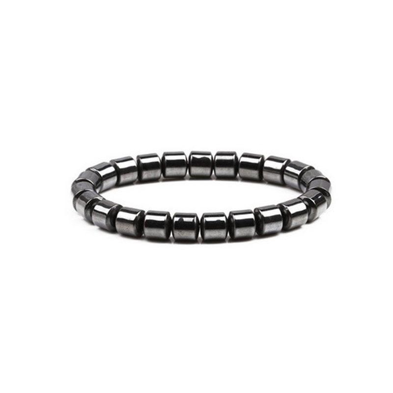 Hematite Stone Stretch Bracelet Bullet Shape Beads