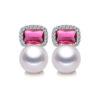 Pearl Stud Earrings Freshwater 925 Sterling Silver CZ